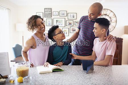 family bonding in kitchen