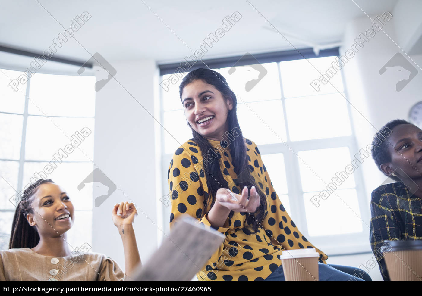 happy, businesswoman, talking, in, conference, room - 27460965