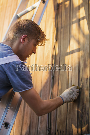 male worker on ladder staining wood