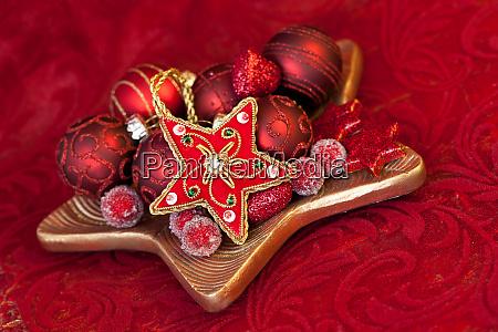 christmas still life with elegant ornaments