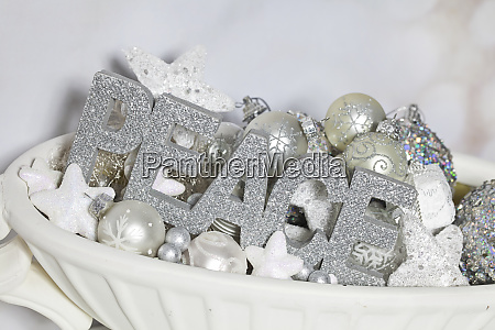 elegant christmas decoration with word peace