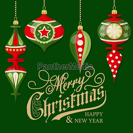 christmas card with balls christmas