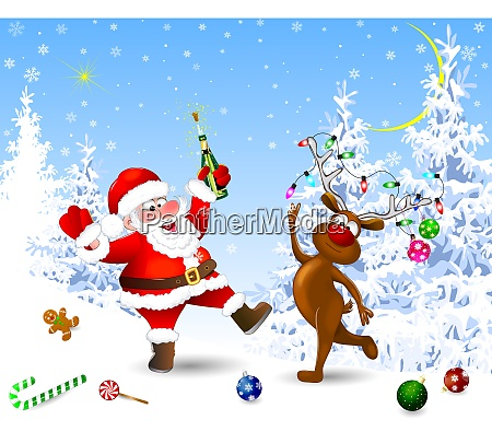 joyful santa and deer celebrate christmas