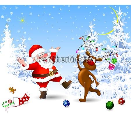joyful, santa, and, deer, celebrate, christmas - 27463330