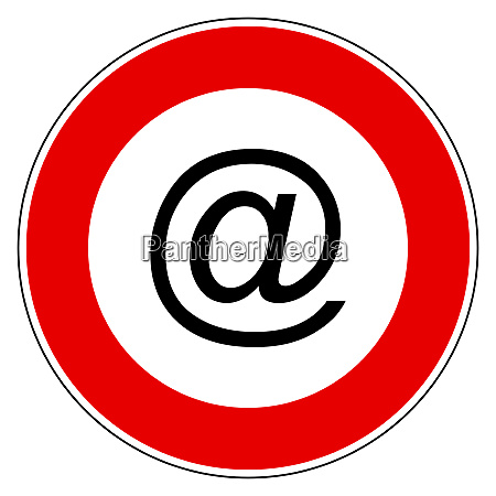 e mail symbol and prohibition sign
