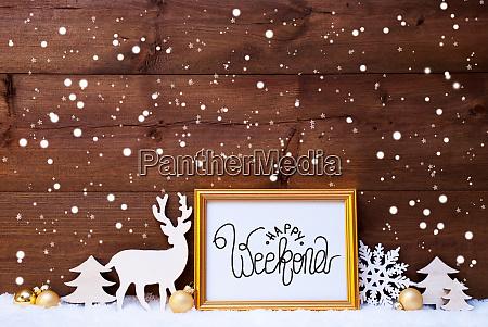 frame golden ball tree snow deer