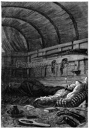 he soon fell asleep vintage engraving