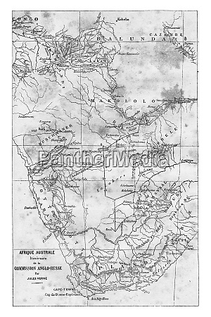 map of southern africa vintage engraving