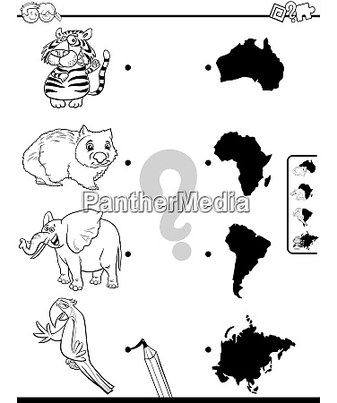 match animals and continents game coloring