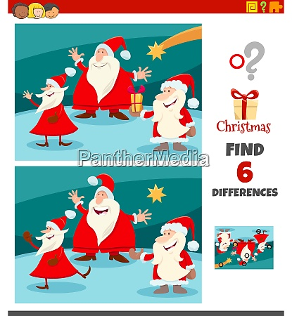 differences task with santa claus characters