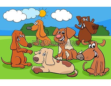 happy cartoon dog characters group
