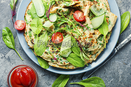 homemade pancakes with herbs