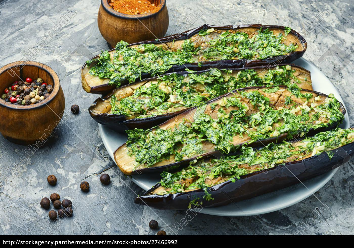 halved, baked, eggplant - 27466992
