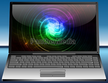 laptop with colorful abstract desktop