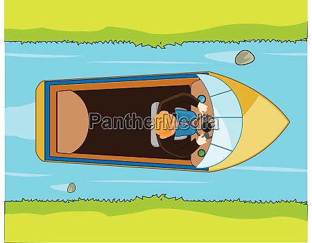 small motorboat sails on river type