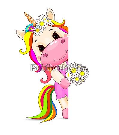 unicorn baby with flowers