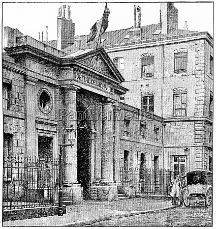 charity hospital vintage engraving