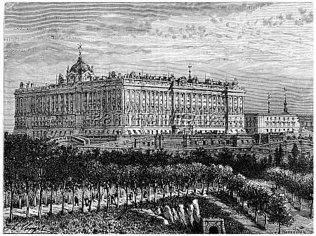 madrid royal palace vintage engraving