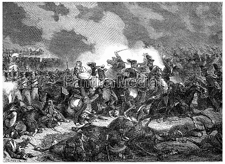 battle of bautzen vintage engraving