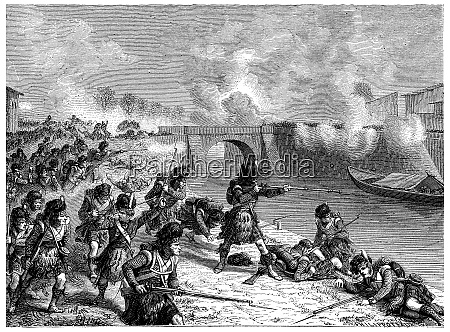 battle of toulouse vintage engraving