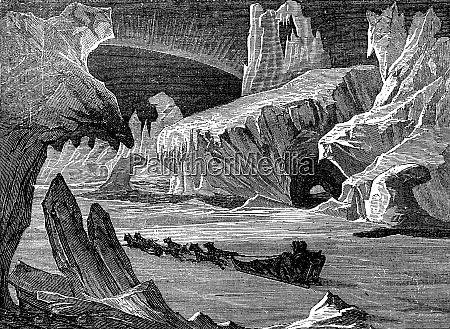 in ice arctic landscape vintage engraving