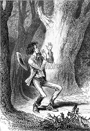a man afraid in the forest