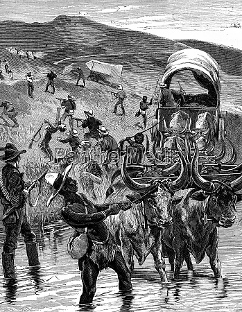 the boers crossing a ford on
