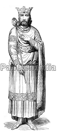 louis vii the younger vintage engraving