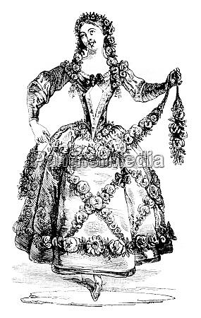 pleasure costume vintage engraving