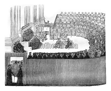 the council of trent vintage engraving