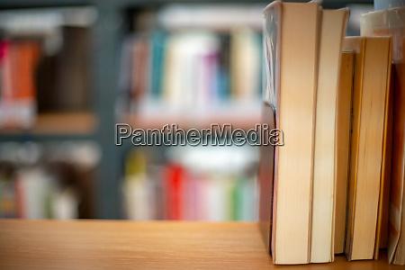 books on a shelf in a