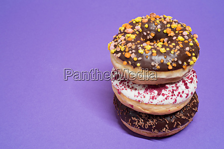 macro shot of stack of donuts