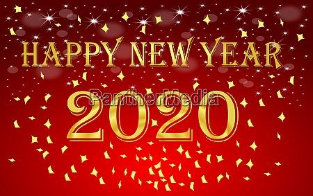 decorative shiny red happy new year
