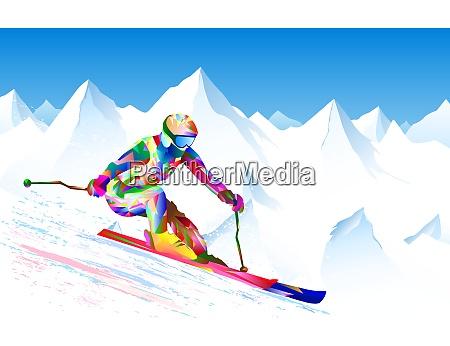 skier athlete snow mountains sport