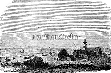 the village of scheveningen vintage engraving