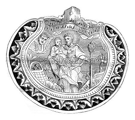 a pilgrim carved shell vintage engraving