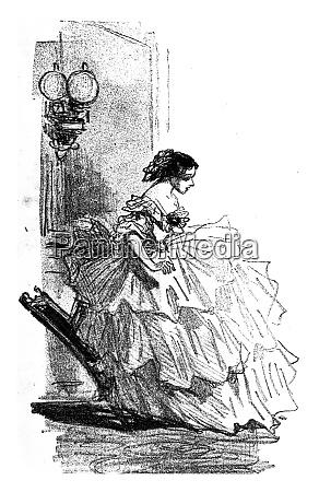 the crinoline vintage engraving