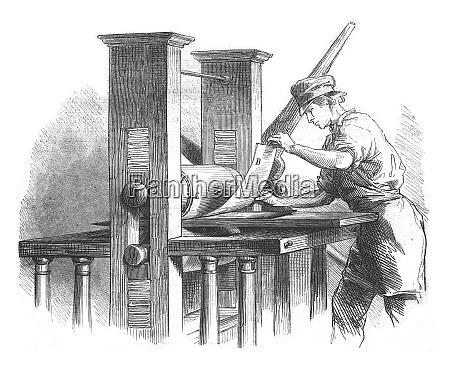press vintage engraving