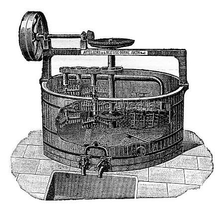 machine digging malt vintage engraving