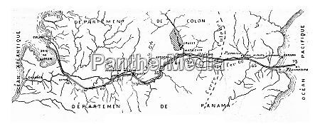 map of the panama canal vintage