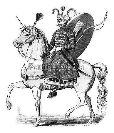 old persian rider vintage engraving