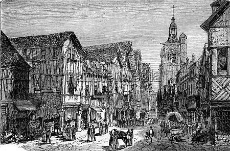 great street in bernay vintage engraving