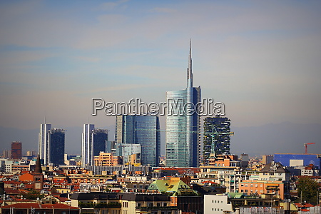 milan skyline with modern skyscrapers in