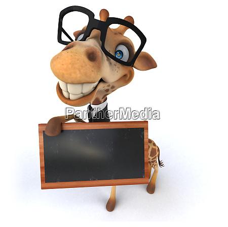 fun 3d giraffe holding a blackboard