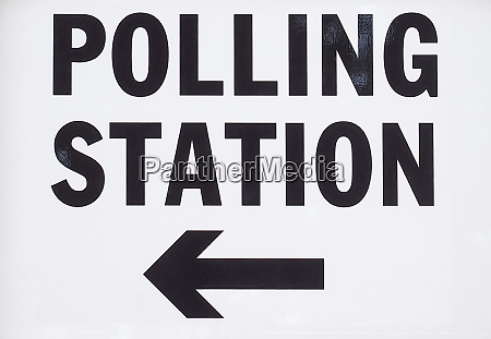 polling station sign in town