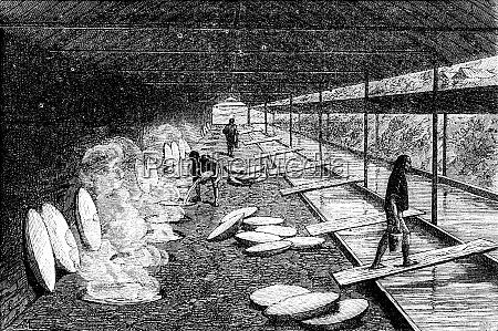 salt well evaporation vintage engraving