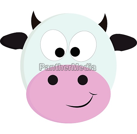 white and black cute cow vector