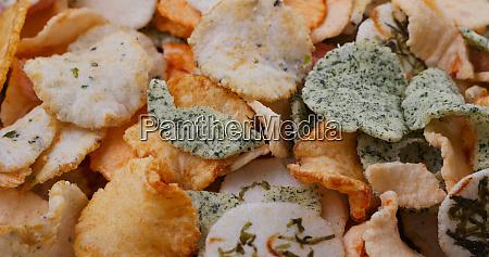 japanese rice cracker on plate