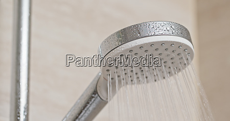 water flow from shower head in