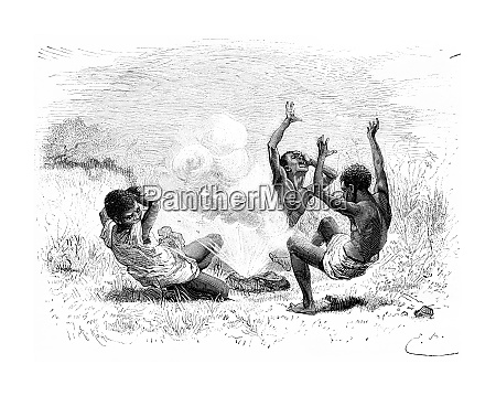 a bullet explodes on three natives